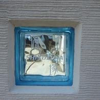 ガラスブロックサインの門柱