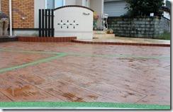 駐車場の床スタンプコンクリート木目・目地クリスタルグレイン