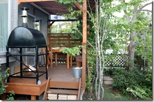 Wood deck on the pizza oven