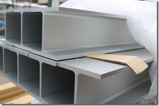 エクステリに使用するアルミH鋼材