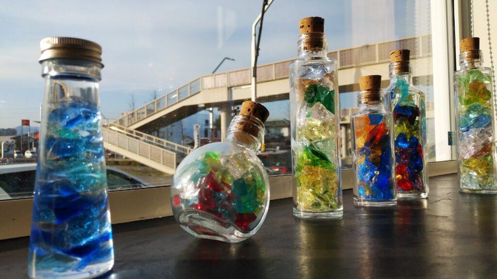 キラキラガラスの瓶