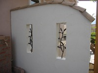 ウッドデッキ横の目隠しの壁
