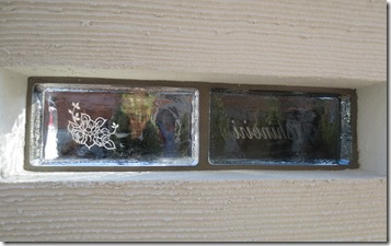 Venetian glass block sign gatepostPlane 015